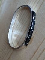 "Vintage Mexico 925 Sterling   Onyx Hinged 7"""" Bangle Bracelet Channel Inlay"