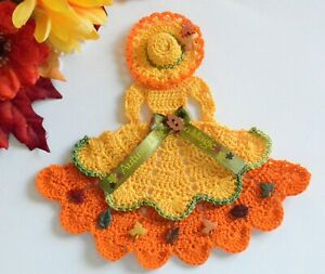 Autumn Crinoline Lady Hand Crochet Doily / Goldenrod & Orange / Fall Leaves
