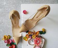 Fana Beige Perspex High Heels Size 40 7