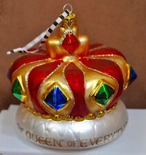 Mary Engelbreit Queen of Everything Jeweled Crown Christmas Ornament Red Gold