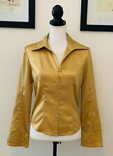 Harley Davidson Womens Blouse Shirt Top Embroidered Bell Sleeve Size Small Gold