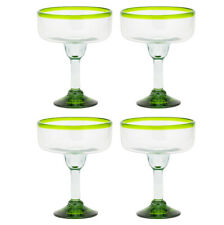 Amici Home Baja Mexican Glass Drinkware, Green, Set of 4 Margarita Glasses
