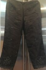 Women's ANN TAYLOR Black Embellished Silk Pants Size 12 Petite