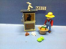 (M85) playmobil Fermier et clapier à lapin ferme ref 4491 4490