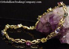 "14k Multi Color Pink Yellow Green Blue Ceylon Sapphire Anchor Link Bracelet 9.2"""