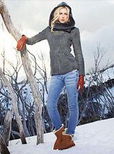 EMU Australia Beauty Sheepskin Shearling Jacket Asymmetrical Zip Hooded Coat * S