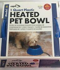 Heated Pet Bowl New 1 Quart Plastic API Model 1 B Anti-Chew Cord For Dogs & Pets