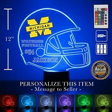 Michigan Wolverines College Football Personalized FREE - LED Night Light Lamp