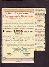 Exportadora Bañezana ,Share certificate  La Bañeza , León,Spain  1939