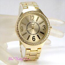 Design placcato oro da donna classica grande quadrante metallo orologio con /