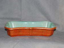 Chinese Qianlong Porcelain Coral Ground Gilt Decorated Turquoise Interior Tray