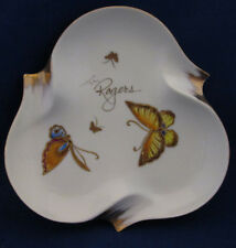 "Rogers Fine China Ashtray with 22 kt. Gold Butterflies 8"" Diameter"