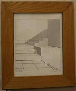 HUMBERTO CALZADA Architectural SIGNED & NUMBERED LITHOGRAPH 1983