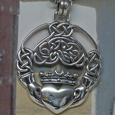 Peter Stone irischer Claddagh Anhänger 925 Silber Freundschaftsamulett Hochzeit