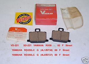 YAMAHA RD 250 RD 350 1980 RX50 DISC BRAKE PADS VESRAH VD221 2PC