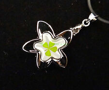 "Real four leaf clover pendant with sweet flower shape cord 19"" with extension"