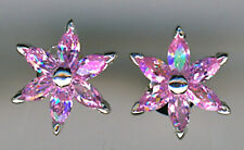 925 Pink Sterling Silver Cubic Zirconia Stud Earrings 13mm   6 marquise stones