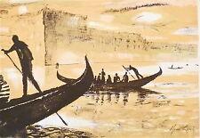 René Genis carte de voeux lithographie paysage marin New York Tokyo Essen p597