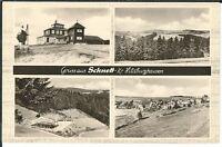 Ansichtskarte Schnett/Kreis Hildburghausen - Ortsansicht und Freibad - s/w