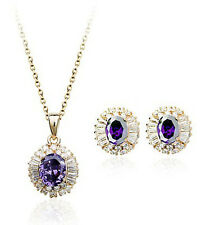18K ROSE GOLD PLATED GENUINE CZ & AUSTRIAN CRYSTAL PURPLE NECKLACE/EARRING SET