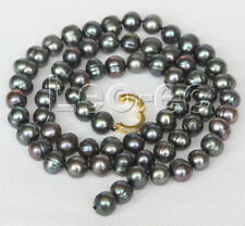 """black pearls necklace gold plated v928 New long 24"""" 10mm baroque near round"""