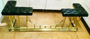 Fireplace Seat, Rushford Club Fender, Green Button Leather, Lacquered Brass