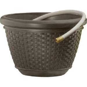 Hose Pot, Resin Wicker Garden Hose Pot in Java Brown, Holds up to 100 ft.