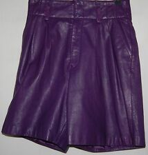 Vintage Jarrods Womens Purple Genuine Leather Shorts Small 4 High Waist