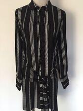 NEW LOOK BLACK STRIPE STAR LONG CHIFFON TIE MIDI SHIRT DRESS SIZE 14 RRP £24.99