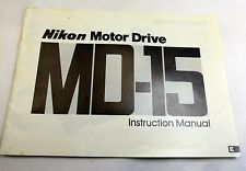 Nikon MD-15 Motor Drive Camera Instruction Manual Guide 22 pages English E