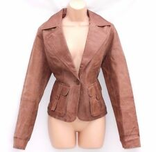Brown 100% Real Leather CASUAL WEAR Fitted Ladies Jacket Coat Blazer Size UK 14