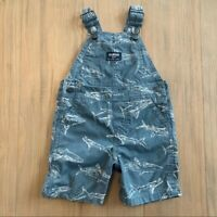 OshKosh Grey Shark Short Overalls Shortalls Baby Infant Toddler Size 18M Ocean