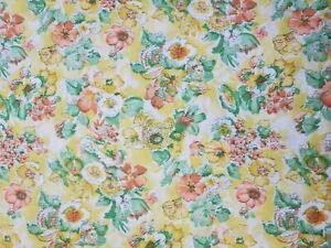 "Vtg 36"" Wide Retro 1960's  Cotton Quilt Fabric Yellow Orange Green Floral   BTHY"