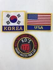 Korea Usa & Ko's Tae Kwon Do Academy Patch Lot Grand Master Yun S. Ko