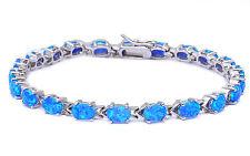 """BEAUTIFUL OVAL CUT BLUE FIRE OPAL .925 Sterling Silver Bracelet 7.5"""""""