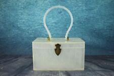 VINTAGE 1950 Wilardy Pearly Bianco lucido lucite di grande Borsa Cerchio Maniglia