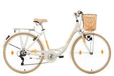 "Damen Cityrad 28"" Mit Korb Citybike 6 Gänge Cantaloupe Weiss KS Cycling 308C"