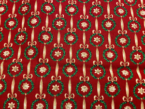 1 YARD Green & Tan Christmas Print on Red Quilt Cotton, Cranston wreaths bows