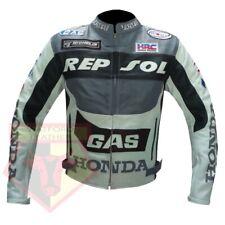 HONDA GAS REPSOL GREY MOTORBIKE MOTORCYCLE COWHIDE LEATHER ARMOURED JACKET