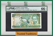 TT PK 21b 2001 GAMBIA 10 DALASIS PMG 66 EPQ GEM UNCIRCULATED TOP POPULATION!