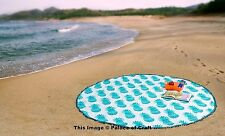 Indian Ethnic Bed Cover Yoga Mat Pineapple Round Beach Throw Cotton Tapestry