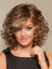 Women Fashion Sexy Medium Long Brown Blonde Fluffy Curly Hair Synthetic Full Wig