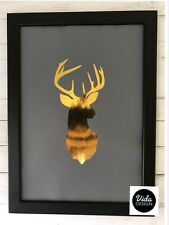 Stag Head, Stag Print, A4 print, Gold Foil Print, Gold & Grey