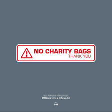 SKU048 No Charity Bags - Front Door Letter Box Sign / Sticker