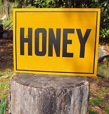 "Vintage Metal Honey Sign Two Sided Business Sign 14"" x 18"" Attach to Pole"