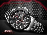 Watch Chronograph CASIMA 8203 JAPAN MOVT Stainless Steel Leather Waterproof 100m