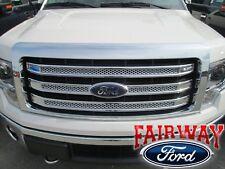 09 thru 14 Ford F150 OEM Genuine Ford 3 Bar Chrome Mesh Grille Grill w/Emblem