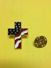 American Flag Cross Pins (100 pack) Celebrate America God,Faith,USA Made Ends7/3