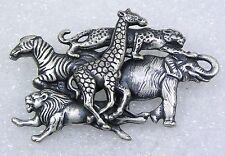Vintage Safari Jungle Animal Figural Pin Brooch Zebra Giraffe Elephant Lion