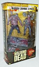WALKING DEAD McFarlane BLOODY ZOMBIE 3 Pack Action Figure BOX SET WELL & BICYCLE
